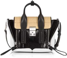 3.1 Phillip Lim Black/Natural Elaphe and Leather Pashli Mini Satchel Bag