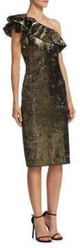 Badgley Mischka Ruffle Sheath Dress