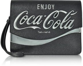 Pinko Solitario Black Eco Leather Clutch