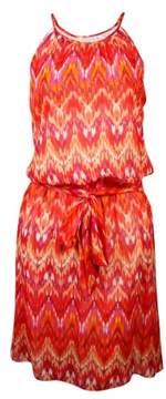 GUESS Women's 'Kylie' Belted Ikat Halter Dress
