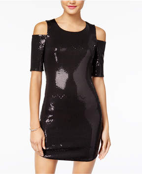 As U Wish Juniors' Sequined Cold-Shoulder Bodycon Dress