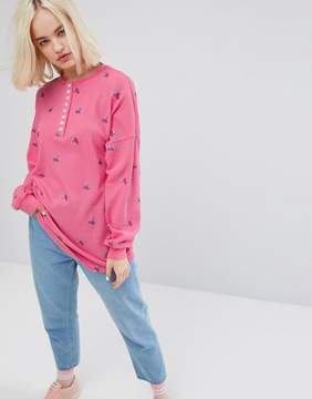 Lazy Oaf Oversized Long Sleeve Button Down T-Shirt In Waffle With Tiny Flowers