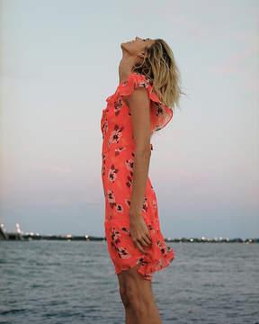 Express Neon Floral Print Asymmetrical Ruffle Dress
