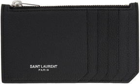 Saint Laurent Black 5 Fragments Zip Card Holder - BLACK - STYLE