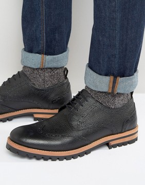 Asos Brogue Shoes In Black Leather With Heavy Cleated Sole