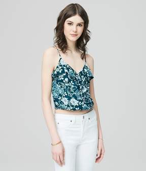 Aeropostale Cape Juby Ruffled Floral Crossover Tank