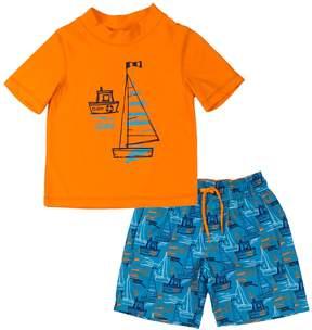 Trunks Toddler Boy Kiko & Max Sail Boats Rashguard & Swim Set