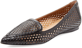 French Sole Women's Video Perforated Leather Pointed-Toe Flat