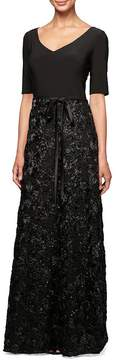 Alex Evenings V-Neck Rosette Skirt Gown