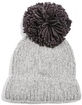 Topshop Women's Pompom Beanie - Grey