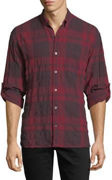 John Varvatos Roll-Up Plaid Sport Shirt with Pocket