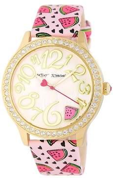 Betsey Johnson Women's Wacky Watermelon Crystal Leather Watch