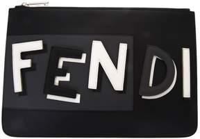 Fendi Black Leather Clutch With Logo