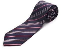 Luciano Barbera Men Slim Silk Neck Tie Navy Red.