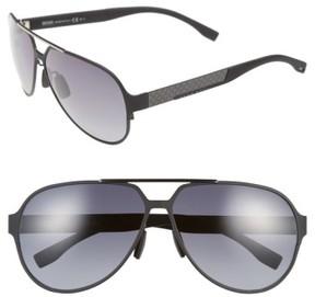 BOSS Men's 63Mm Aviator Sunglasses - Black Ruthenium/ Grey Gradient