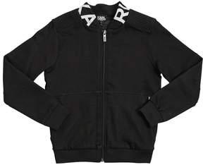 Karl Lagerfeld Zip-Up Logo Print Cotton Sweatshirt