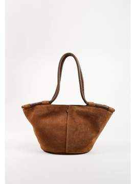 The Row Pre-owned saddle Brown Suede Braided Handle Small market Tote Bag.
