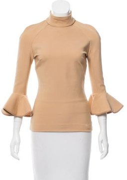 David Koma Leather-Trimmed Long Sleeve Top