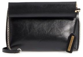 Street Level Rolltop Faux Leather Clutch - Black