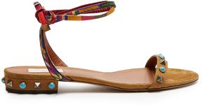 VALENTINO Rockstud Rolling suede flat sandals