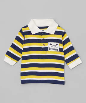 Hudson Baby Yellow & Navy Stripe Rowing Button-Front Top - Newborn & Infant