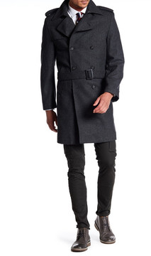 Nautica Double Breast Button Belted Peacoat