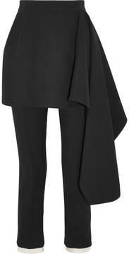 Alexander McQueen Satin-trimmed Wool-blend Crepe Slim-leg Pants - Black