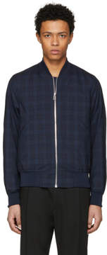 Paul Smith Navy Tonal Check Bomber Jacket