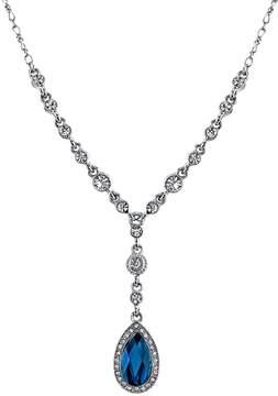 1928 Blue Teardrop Halo Y Necklace
