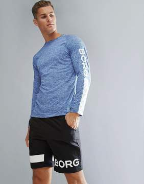 Bjorn Borg Performance Long Sleeve T-shirt In Regular Fit Blue