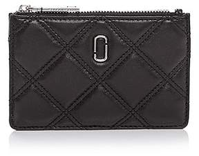 Marc Jacobs Double J Matelasse Top Zip Leather Wallet - BLACK/SILVER - STYLE