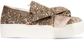 No.21 No. 21 - Knotted Glittered Leather Sneakers - Gold