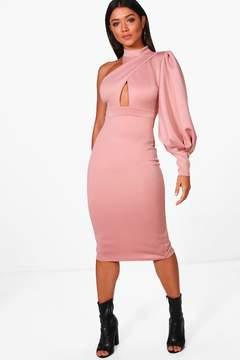 boohoo One Shoulder Detail Midi Dress