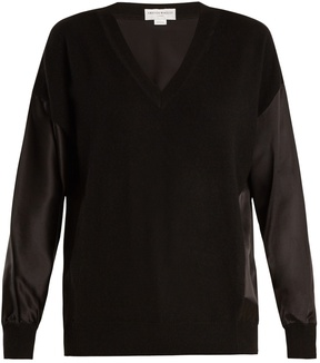 Amanda Wakeley The Vikander silk-satin and cashmere sweater