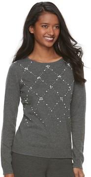 Elle Women's ElleTM Embellished Crewneck Sweater