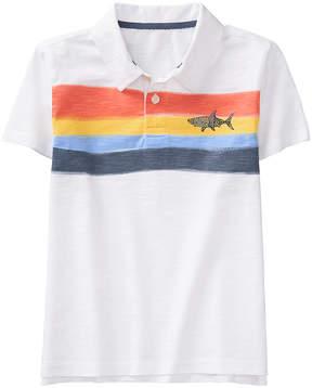 Gymboree White Wavy Stripes Polo - Boys