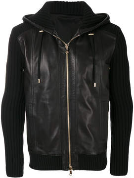 Balmain ribbed leather hoodie