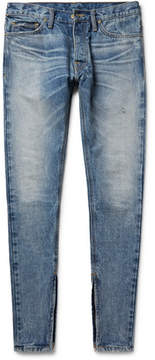 Fear Of God Skinny-Fit Zip-Detailed Distressed Selvedge Denim Jeans