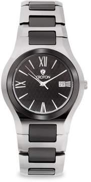 Croton Men's Tungsten & Ceramic Swiss Quartz Watch with Textured Dial & Date