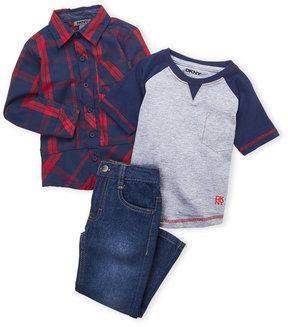 DKNY Toddler Boys) 3-Piece Plaid Shirt & Jeans Set