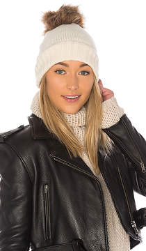 Hat Attack Slouchy Cuff Beanie with Faux Fur Pom