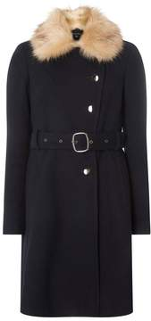 Dorothy Perkins Navy Faux Fur Collar Belted Coat