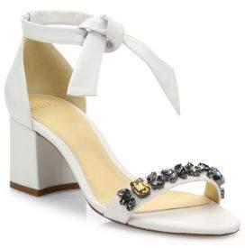 Alexandre Birman Clarita Jeweled Leather Block Heel Sandals