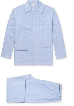 Derek Rose Arran Herringbone Brushed-Cotton Pyjama Set