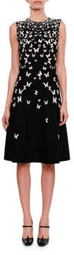 Bottega Veneta High-Neck Sleeveless A-Line Dress with Butterfly Jacquard
