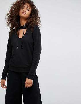 Noisy May Hooded Top with Choker Detail