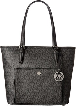 MICHAEL Michael Kors Jet Set Item Medium Top Zip Snap Pocket Tote Tote Handbags - BLACK - STYLE