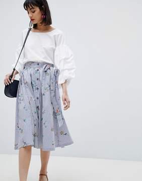 Esprit Floral And Stripe Midi Skirt