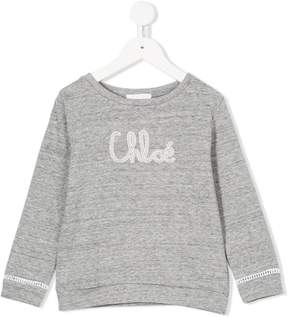 Chloé Kids logo embroidered sweatshirt