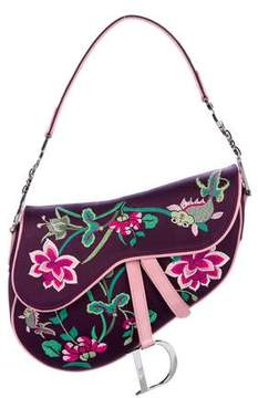 Christian Dior Embroidered Floral & Koi Saddle Bag